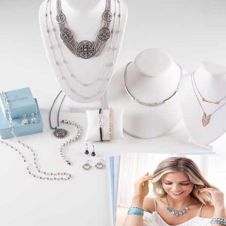 Touchstone Crystal Basic Starter Kit contents including 13 pieces of jewelry, catalogs and collateral