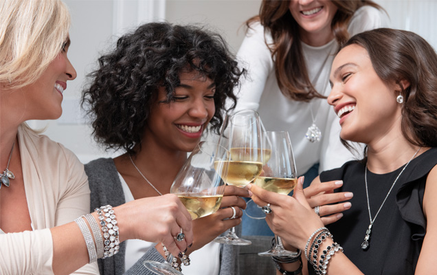 4 Women at a home jewelery party